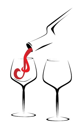 glass of wine: Wine bottle and glasses outline illustration