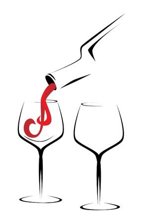 wine bar: Wine bottle and glasses outline illustration