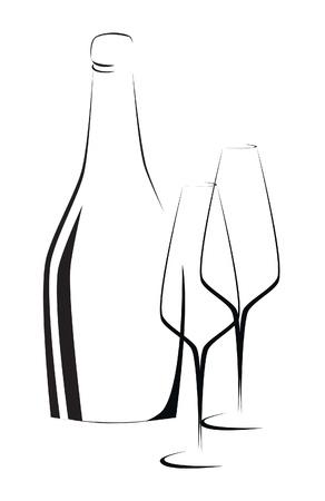 champagne celebration: Bottle of wine and glasses outline illustration Illustration