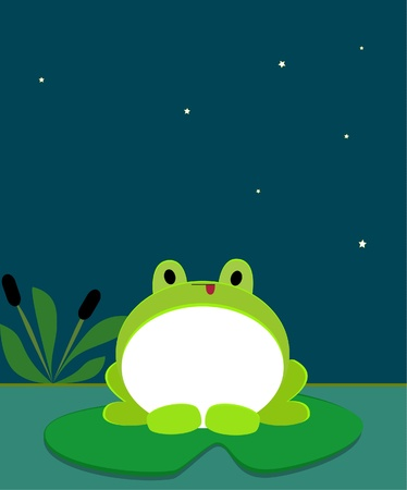 Cute frog at night Vector