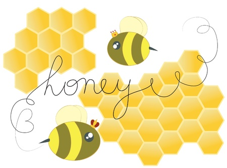 Honey bees cute illustration Vector