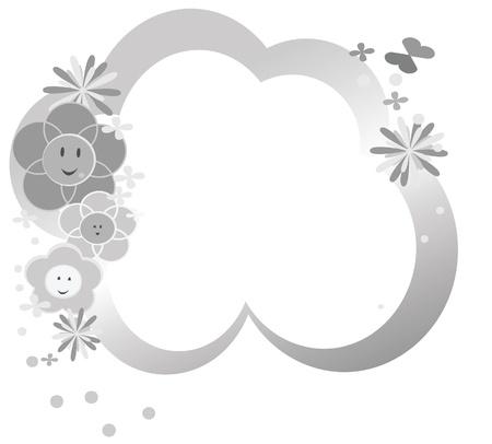 childish: Симпатичные серебряные цветы фоне Иллюстрация