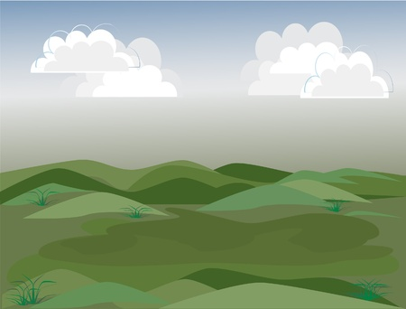 mountain view: Green field and grey sky with clouds background vector