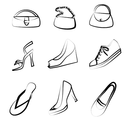 Shoes and handbags outline  Vector