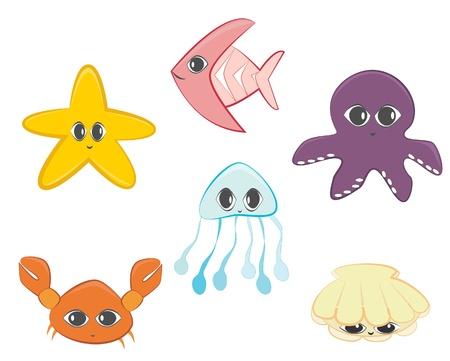children crab: Sea animals set  Cute cartoon sea creatures