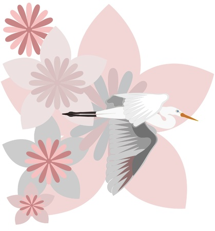 Bird flying and flowers background Vector