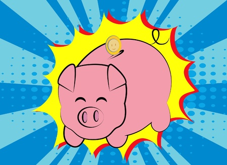 Piggy bank pop art style Vector
