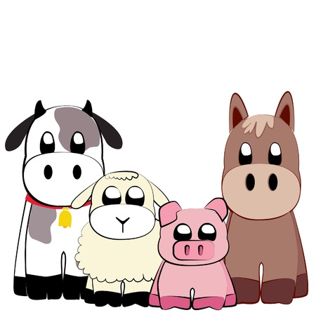 Cute farm animals illustration Vector