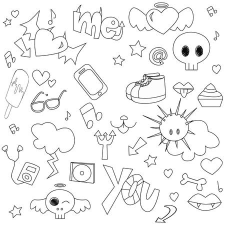 Doodle teen pattern Vector