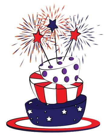 アメリカ 7 月 4 日のケーキ。漫画のスタイル。