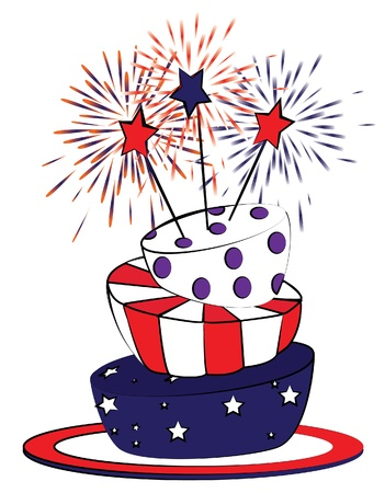 fourth birthday: American 4th july cake. Cartoon style. Illustration