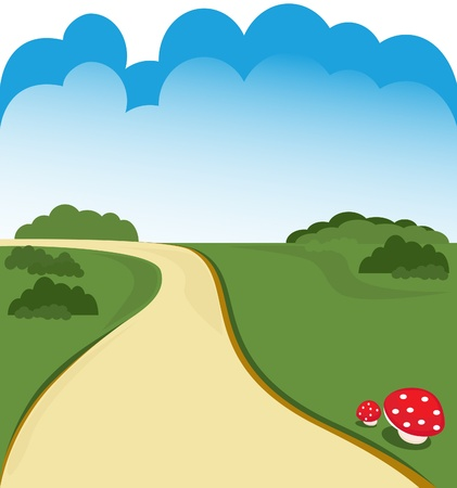 country road: Cartoon road background Illustration