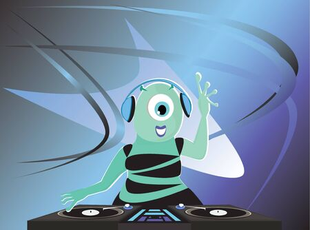 one eyed: Alien DJ and futuristic background