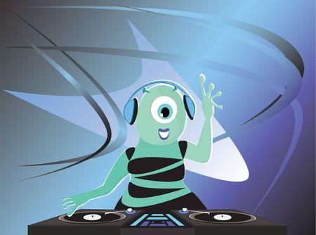 spacial: Alien DJ and futuristic background