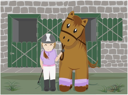 Girl and horse and stables background Vector