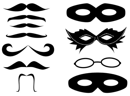 moustache: Mustaches and masks set