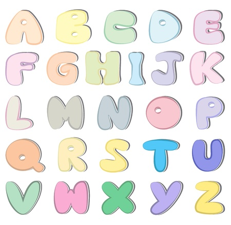 Colorful sticker alphabet letters  Vector