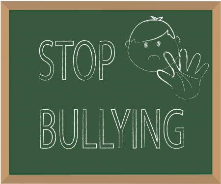 prejudice: Stop bullying chalk illustration