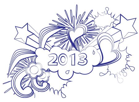 2013 new year doodle background Stock Vector - 14782822