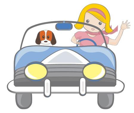車を運転する女の子  イラスト・ベクター素材