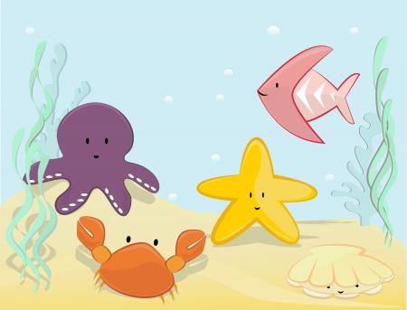 水中のかわいいシーン  イラスト・ベクター素材