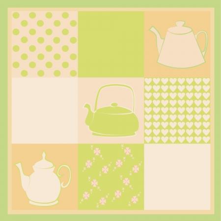 Tea party card vector Vector
