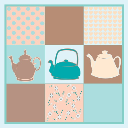 Teapot background vector Vector