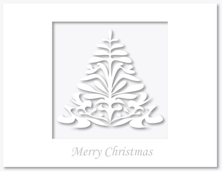 Christmas tree paper cutting card Stock Vector - 15615577