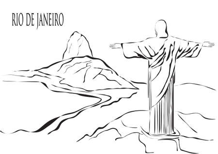 brazil beach: Rio de Janeiro outline hand drawn illustration