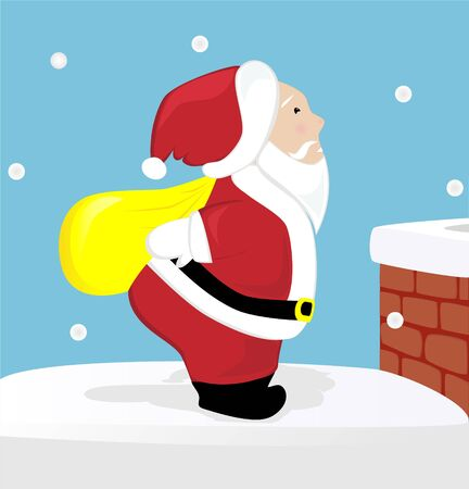 Santa Claus on the roof  Stock Vector - 16005570
