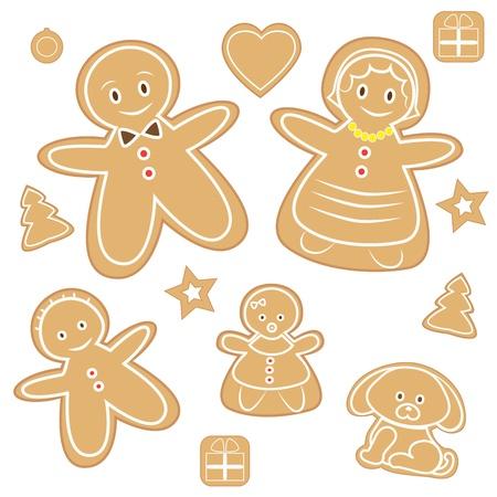 Gingerbread man family illustration