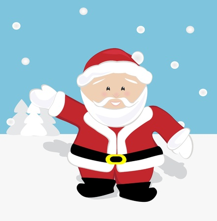 Santa Claus waving and walking on snow Stock Vector - 16307249