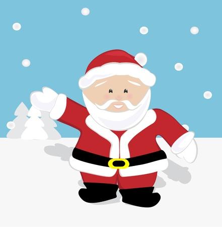 Santa Claus waving and walking on snow Stock Vector - 16307249