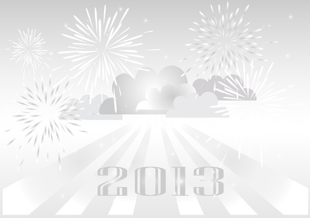 2013 fireworks silver background Stock Vector - 16459573