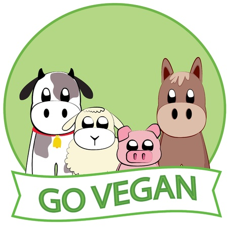 Ga Vegan slogan Stock Illustratie