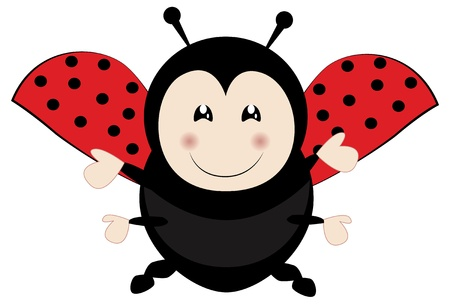 Cute ladybird flying Vector