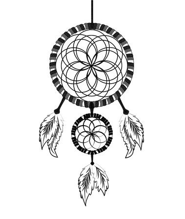 Dream catcher ink illustration vector Illustration