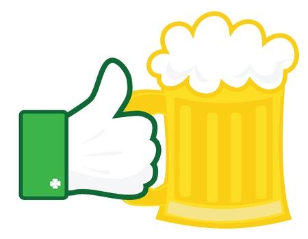 ビールのジョッキを手。