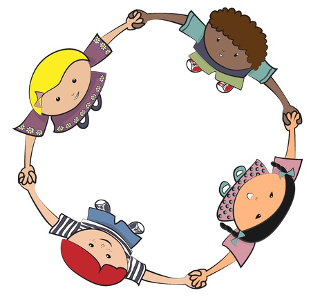 girls having fun: Children playing together Illustration