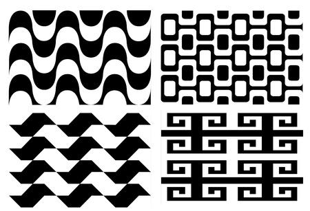 ヴィンテージの黒と白のシームレスなパターンのセット  イラスト・ベクター素材