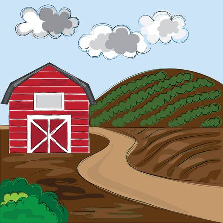 Farm background hand drawn style Stock Vector - 18050685