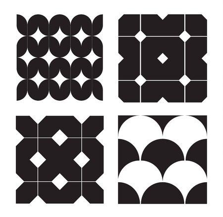 negative space: Retro Black and White Seamless Pattern