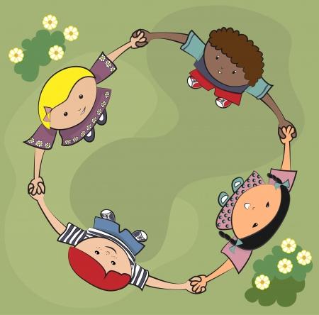 girls having fun: Kids playing together Illustration