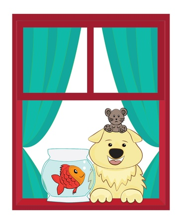 Dog and fish and mouse looking out of a window Vector