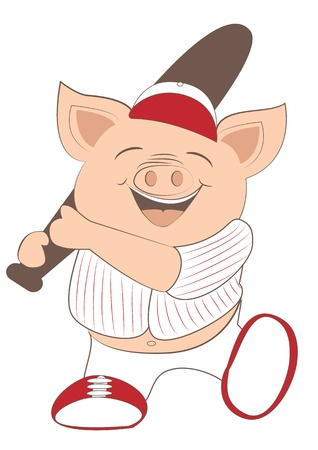 Baseball pig player Vector