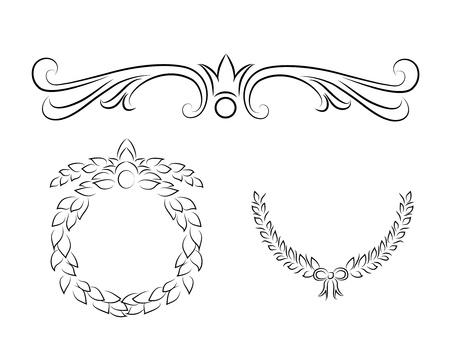 coronas de navidad: Mano filigrana Vintage dibujado elementos Vectores
