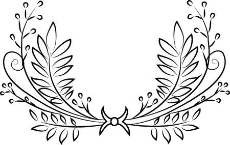 wreaths: Hand drawn vintage calligraphic wreath