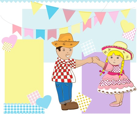 june: Junina Party. Boy and girl dancing. Illustration