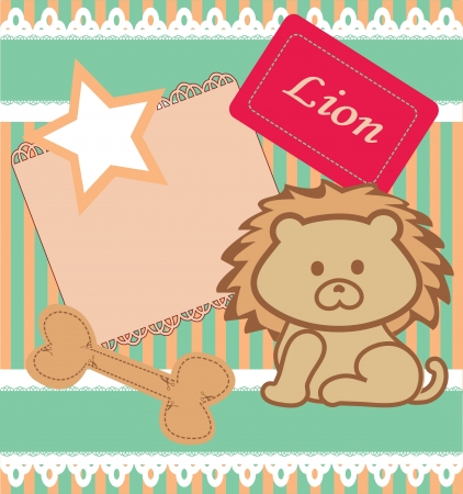 Scrapbook elements. Cute lion card. Vector Vector