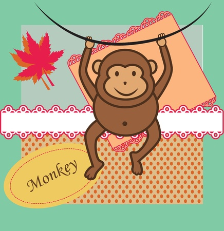 Cute little monkey and paper sticker background Vector